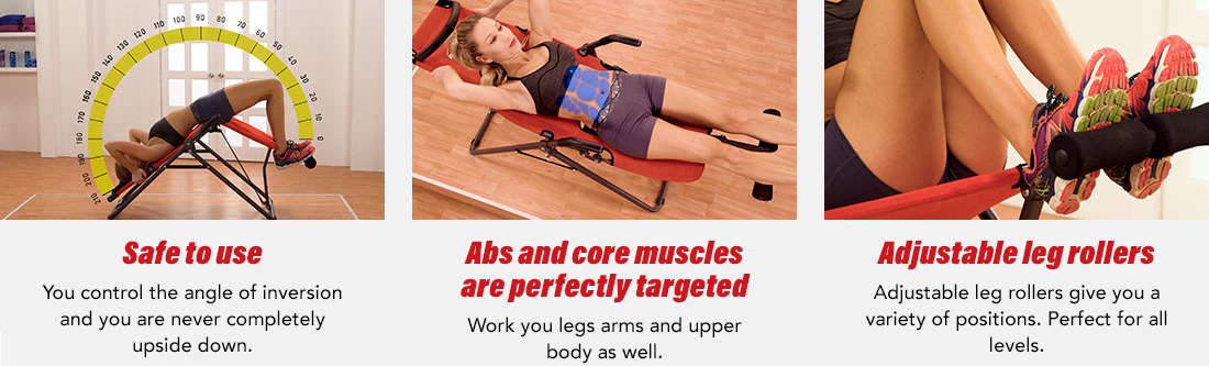 Safe to use, Abs and core muscles are perfectly targeted, Adjustable leg rollers